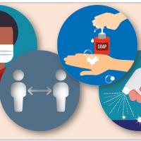 LIFE Jr. College Coronavirus prevention icons