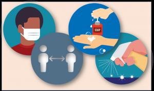 LIFE Jr. College Coronavirus prevention icons